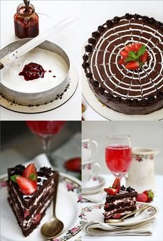 Old Fahioned Chocolate Cake with Balsamic Strawberry Filling and Cream. Heavenly goodness--and you can still make it if you run out of eggs!