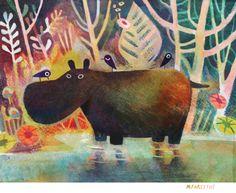 Hippo and birds by Matt Forsythe
