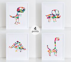 Set 4 Dinosaur Skeleton Print Cute Dinosaurs Art by DecorartDesign