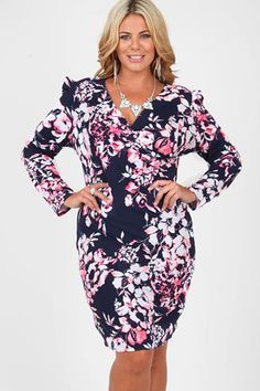 13154dd0a4a Navy And Neon Pink Floral Crepe Dress With Wrap Over Front Plus Size  Dresses Yours Clothing