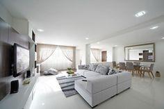 Toh Yi, Minimalism HDB Interior Design, Living & Dining Room.