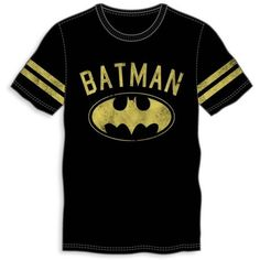 Bioworld Black Athletic Batman Tee - Male ($12) ❤ liked on Polyvore featuring men's fashion, men's clothing, men's shirts, men's t-shirts and black