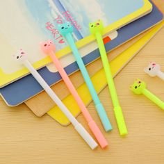 2PCS/LOT GENKKY Creative stationery erasable pen, cute luminous cat signature pen Gel Ink pen 0.38mm student supplies
