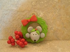Mouse in Christmas Wreath - Holiday Ornament