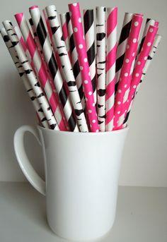 25 Paper Straws Hot Pink Fuchsia Black Zebra Stripe Dots Bachelorette Party Baby Bridal Shower Rustic Barn Wedding Mason Jar Straws Birthday $2.99