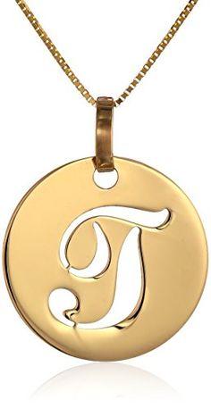 "Yellow Gold Italian Script Initial ""T"" Disc Pendant Necklace, Washer Necklace, Pendant Necklace, Gem Stones, Script, Initials, Necklaces, Jewels, Yellow, Gold"