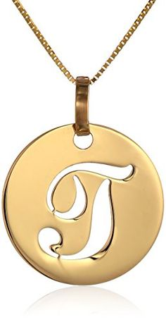 "14k Yellow Gold Italian Script Initial ""T"" Disc Pendant Necklace, 18″"