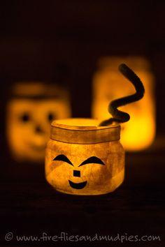 Glowing Jack O'Lantern Jars | Fireflies and Mud Pies