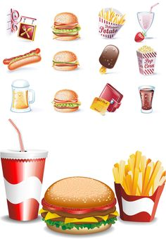 Fast food vector. Set of vector fast food icons and clipart graphics for your designs. This set contains such vector fast foods: vector cheeseburger, double cheeseburger, hot dog clip art, beer, ice cream, popcorn, coca cola, french fries in vector,…