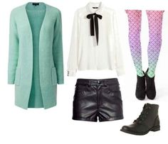 White collar shirt, black pants, combat boots, mint cardigan, pastel gradient tights