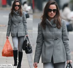 Pippa wearing Fay coat (again) on 11/21/2011