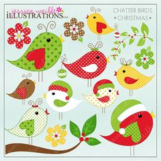 Clip Art Pictures, Christmas Chatter Birds Cute Digital Clipart for Card Design, Scrapbooking, and Web Design, Christmas Clipart