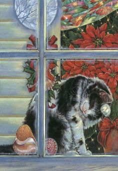 I love this Christmas Kitty preening in the window...
