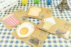 Cute food shape pattern sticky notes.It is contain the cute shape bookmark. Four shape for choose    You will receive 1 pack (sticky note and bookmark).