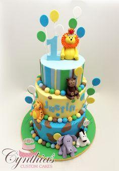 Safari Birthday cake! All fondant - All edible ... Follow my work @ www.facebook.com/Cynthias.Custom.Cakes