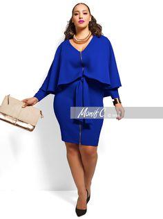 """London"" Cape Dress -Royal Blue"