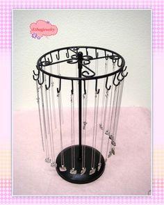 24 Hooks Metal Rotating Necklace Holder Organizer Stand Jewelry Tree Display | eBay