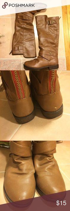 Madden Girl Boots ✨REPOSH ✨ Brown Madden Girl boots I purchased on posh. Sadly, half a size too big! Apparently they're true to size 😃 In good condition.   Bundle or make an offer 😘 Madden Girl Shoes