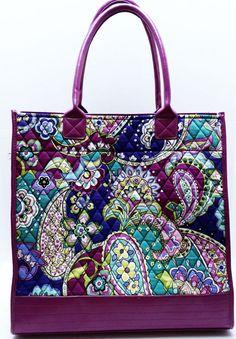 Vera Bradley Retired Big Boxy Tote Bag Heather Purple Paisley Faux Leather  Quilt  VeraBradley  TotesShoppers f47718564dbc0