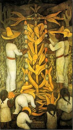 The Maize Festival - Diego Rivera Diego Rivera Frida Kahlo, Frida And Diego, Mexican Artists, Mexican Folk Art, Mexican Artwork, Famous Artists, Great Artists, Mexico Art, Mural Painting