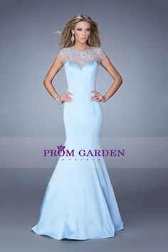 Special Occasion Dresses Mermaid/Trumpet Scoop Sleeveless Sweep/Brush Train Satin With Beading/Sequins Light Sky Blue USD 220.49 PGNP67Z55XR - PromGarden.com