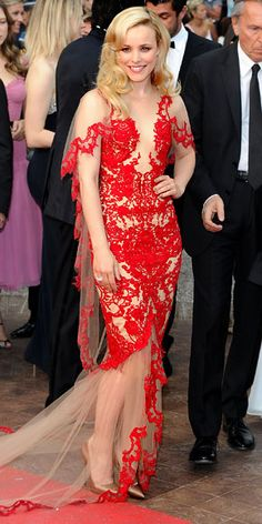 Red Lace Dress  Rachel McAdams - Look of the Day - InStyle