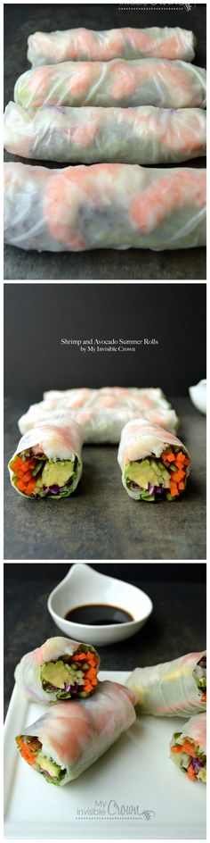 Shrimp Avocado Summer Rolls by wholeyum #Summer_Rolls #Shrimp #Avocado #Healthy