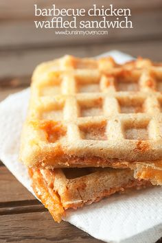 Barbecue Chicken Waffled Sandwiches - forget the panini press...these sandwiches are made in your waffle iron!