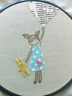 girl with bunny embroidery