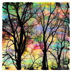 trees in a watercolor sunset