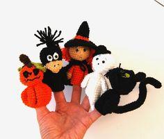 halloween finger puppets witch Jack'o'lantern pumpkin by crochAndi, $36.00