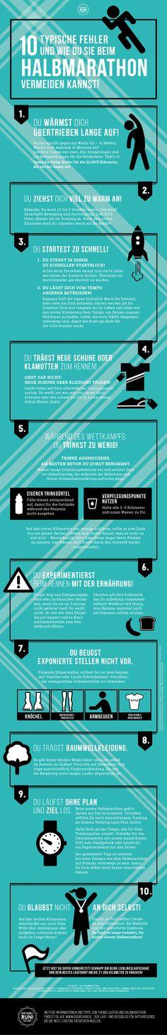 Infografik: Fehler beim #Halbmarathon vermeiden von Go Girl! Run! www.gogirlrun.de  #BerlinerHalbmarathon #Berlinhalf #Halbmarathon #training #laufen #tipps #BerlinHalbmarathon #fehler #halbmarathon2014 #anfänger #lauftipps #infographic #infografik #design #icons