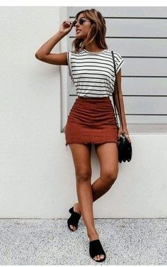 $20 Cute Black And White Striped Sleeveless T-Shirt With Dusty Brown Red Corduroy Mini A-Line Skirt