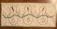 Primitive Stitchery Patterns | Primitive Stitchery PATTERN Joy Snowman Runner by thetalkingcrow