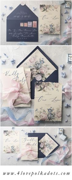 Most romantic wedding combination - delicate flowers and modern calligraphy printing. All in pastel pink and navy blue color pallette. Very elegant and classic wedding invitation with RSVP, details card and envelopes. Fully assembled and customizable #wedding #weddinginvitation