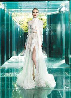 vestido de noiva manga comprida lenço pescoço e saia com racha yolancris vintage couture 2015