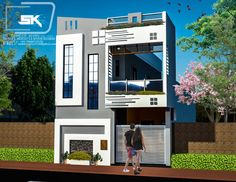Introducing modern house elevation design in front By Er. 2bhk House Plan, Duplex House Plans, House Outside Design, House Front Design, Building Elevation, House Elevation, 20x30 House Plans, Exterior House Colors Combinations, Front Elevation Designs