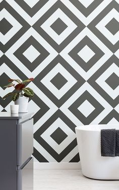 Create a bold & stylish interior or feature wall with our awesome black & white geometric wallpaper mural. Scandinavian Wallpaper, Scandinavian Bathroom, Scandinavian Interior Design, Geometric Wallpaper Murals, Unique Wallpaper, Creative Wall Painting, Creative Walls, Bathroom Feature Wall, Wall Paint Patterns