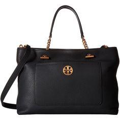 Tory Burch Chelsea Satchel (Black) Satchel Handbags ($498) ❤ liked on Polyvore featuring bags, handbags, satchel style purse, chain purse, chain handle handbags, tory burch bags and chain handle purses