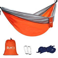 Raku Camping Hammock 660lb Portable Lightweight Parachute Nylon Fabric Hammock for Outdoor Hiking Camping Backpacking Travel Backyard Beach1 YEAR WARRANTY >>> Click image to review more details. Note: It's an affiliate link to Amazon