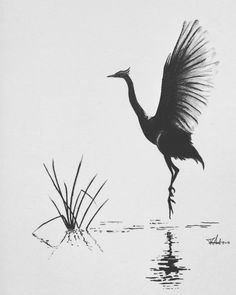 Pencil drawing of a japanese crane Asian Landscape, Chinese Landscape Painting, Chinese Painting, Landscape Art, Landscape Paintings, Chinese Drawings, Art Drawings, Ink Painting, Watercolor Paintings