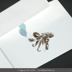 Karten / Einladung / Grusskarten / Glückwunsch / personalisiert / Kartenset / Klappkarten / 6er Set 11,50 Euro www.nakaluhi.com #design #papeterie #karten #krake #einladung #hochzeit #tiere #geburtstag #luftballons