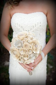 Pearls and Crystals Custom Paper Flower Wedding by crazy2becrazy, $105.00