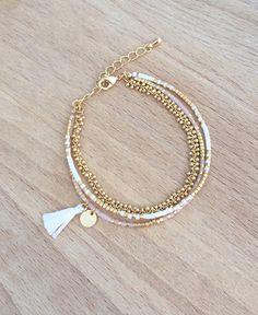 Bracelet blanc multi rangs perles miyuki plaqué or 16k
