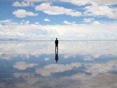 Salar de Uyuni - world's largest salt flat. During the rainy season the water creates the world's largest mirror.