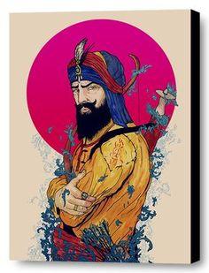 Turning Saints into Warriors, Guru HarGobind Sahib Ji created the Sikh Saint-Soldier. This beautiful artwork of Guru HarGobind capturing the awe inspiring presence and strength through a beautiful artistically creative and original painting that c. Indian Art Paintings, Original Paintings, Guru Hargobind, Drawing Cartoon Faces, Guru Pics, Warriors Wallpaper, Nordic Art, Nordic Style, Free Canvas