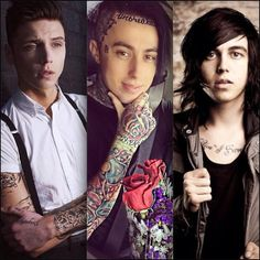 I can't resist these three sexy guys. Andy Biersack, Ronnie Radke, & Kellin Quinn.
