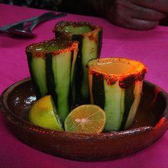 Tequila en Caballitos de Pepino. Yummmmmmmmmm! Take the shot and eat the glass.