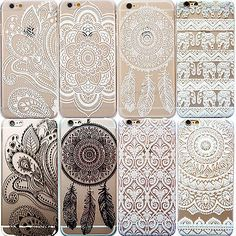 OTTER MK Tribal Lotus Henna Mandala Clear Phone Case For iPhone 5 5S 6 6 Plus