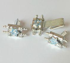 Vintage Oxford Star of David Scroll Cufflinks and Tie Clip Set Israel Hebrew Jewish Cuff Links - Wedding / Formal Wear /  Men's Gift / Groom by ValleyGirlTreasures on Etsy